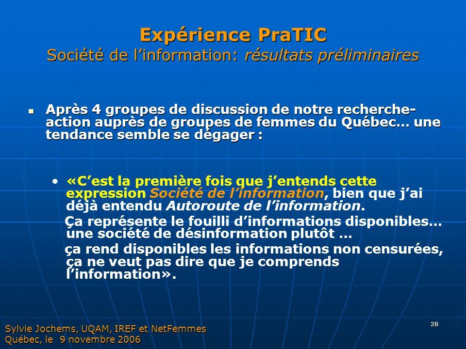 28 Expérience PraTIC Société de l'information: résultats préliminaires Après 4 groupes de discussion de notre recherche- action auprès de groupes de f