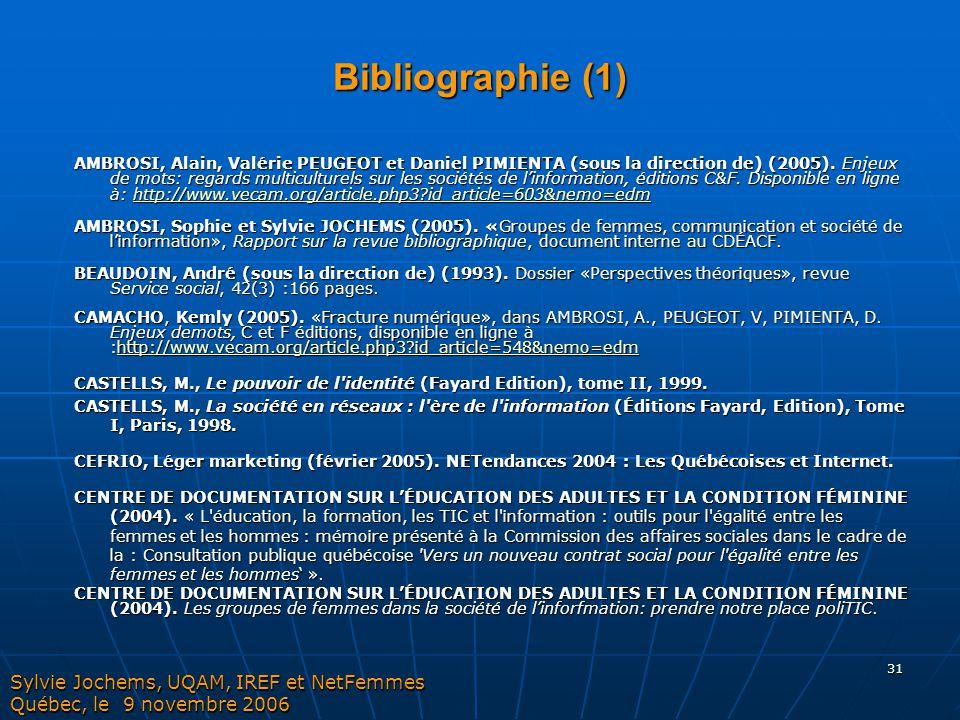 31 Bibliographie (1) AMBROSI, Alain, Valérie PEUGEOT et Daniel PIMIENTA (sous la direction de) (2005). Enjeux de mots: regards multiculturels sur les