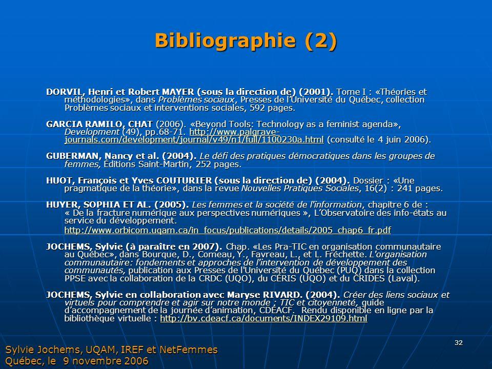 32 Bibliographie (2) DORVIL, Henri et Robert MAYER (sous la direction de) (2001). Tome I : «Théories et méthodologies», dans Problèmes sociaux, Presse