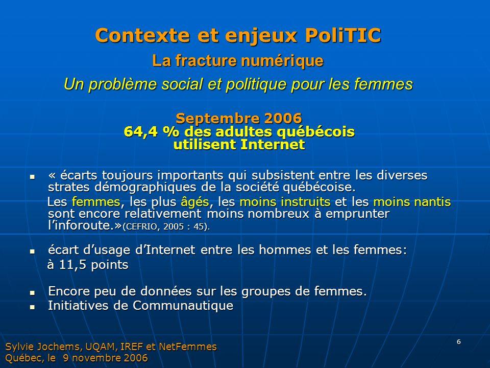 6 « écarts toujours importants qui subsistent entre les diverses strates démographiques de la société québécoise. « écarts toujours importants qui sub