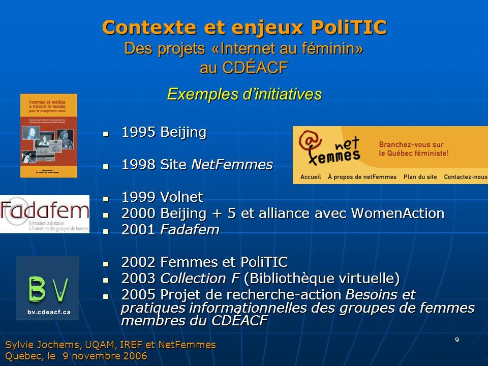 9 Contexte et enjeux PoliTIC Des projets «Internet au féminin» au CDÉACF Exemples d'initiatives 1995 Beijing 1995 Beijing 1998 Site NetFemmes 1998 Sit