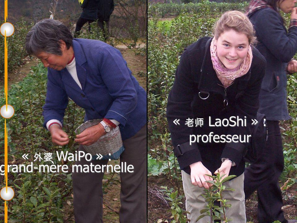 « 外婆 WaiPo » : grand-mère maternelle « 老师 LaoShi » : professeur
