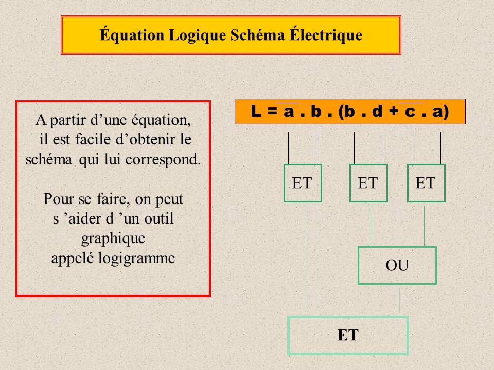 Équation Logique Schéma Électrique A partir d'une équation, il est facile d'obtenir le schéma qui lui correspond. Pour se faire, on peut s 'aider d 'u