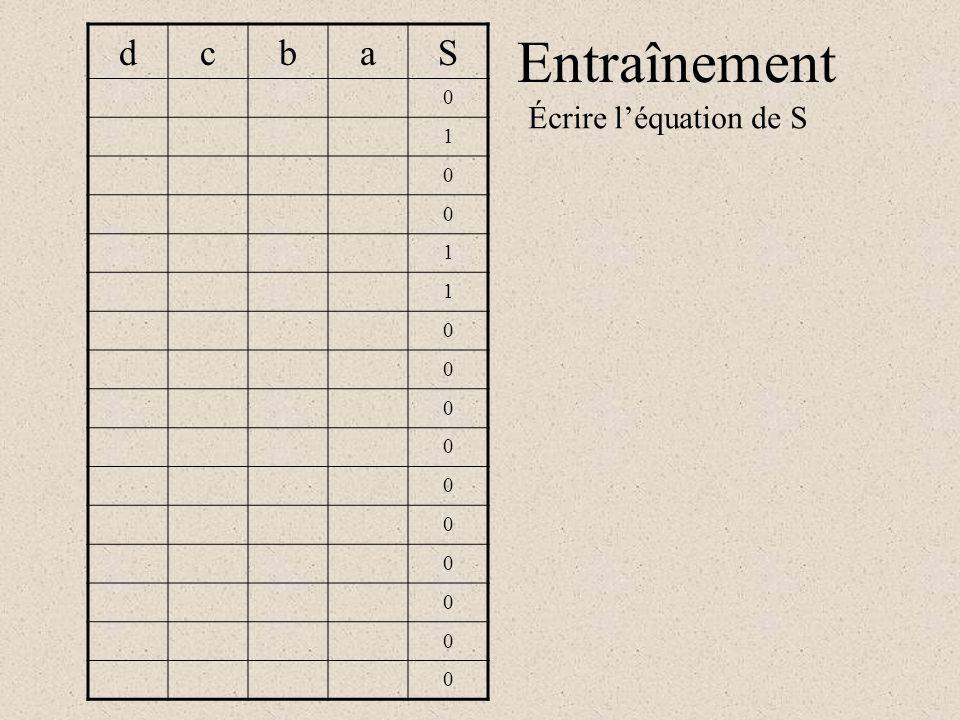 Entraînement dcbaS 0 1 0 0 1 1 0 0 0 0 0 0 0 0 0 0 Écrire l'équation de S