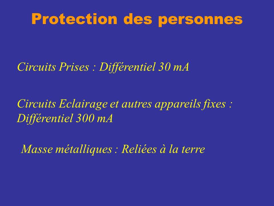 Protection des personnes Circuits Prises : Différentiel 30 mA Circuits Eclairage et autres appareils fixes : Différentiel 300 mA Masse métalliques : R