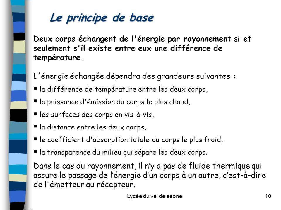 Lycée du val de saone10 Le principe de base Deux corps échangent de l'énergie par rayonnement si et seulement s'il existe entre eux une différence de
