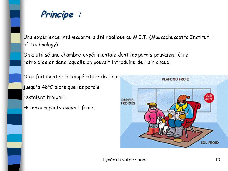 Lycée du val de saone13 Principe : Une expérience intéressante a été réalisée au M.I.T. (Massachussetts Institut of Technology). On a utilisé une cham