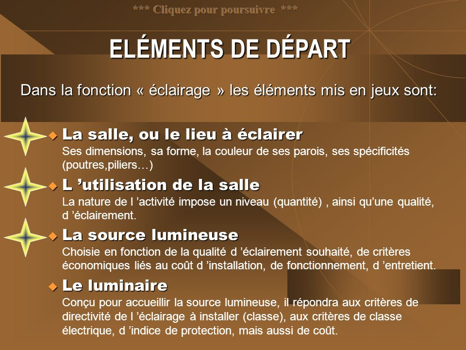 ELÉMENTS DE DÉPART Dans la fonction « éclairage » les éléments mis en jeux sont:  La salle, ou le lieu à éclairer  La salle, ou le lieu à éclairer S
