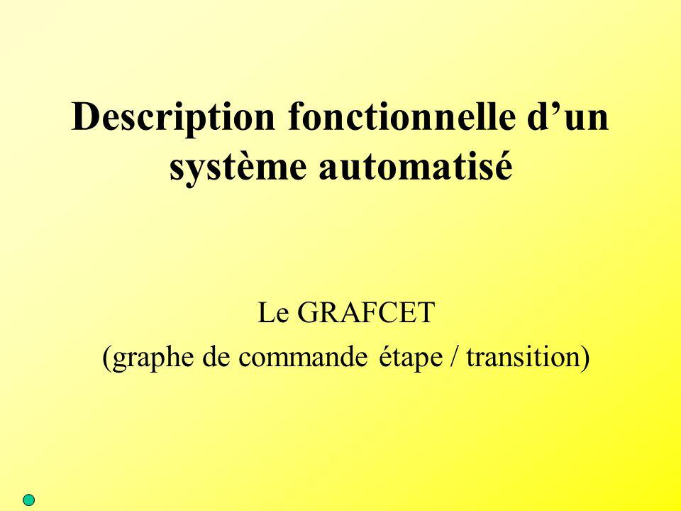 Description fonctionnelle d'un système automatisé Le GRAFCET (graphe de commande étape / transition)