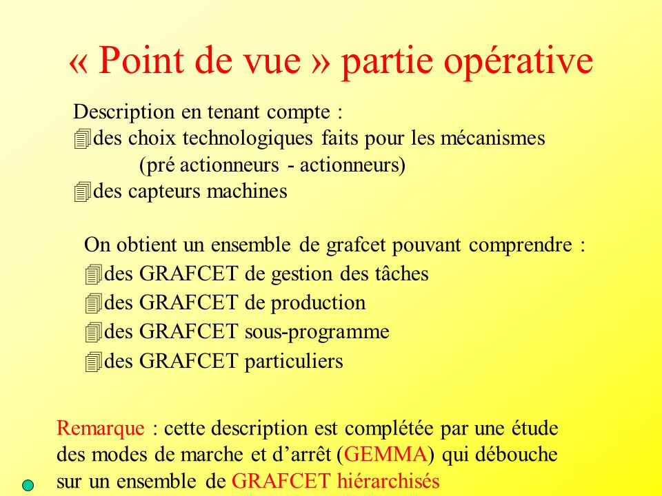 « Point de vue » partie opérative Description en tenant compte : 4des choix technologiques faits pour les mécanismes (pré actionneurs - actionneurs) 4