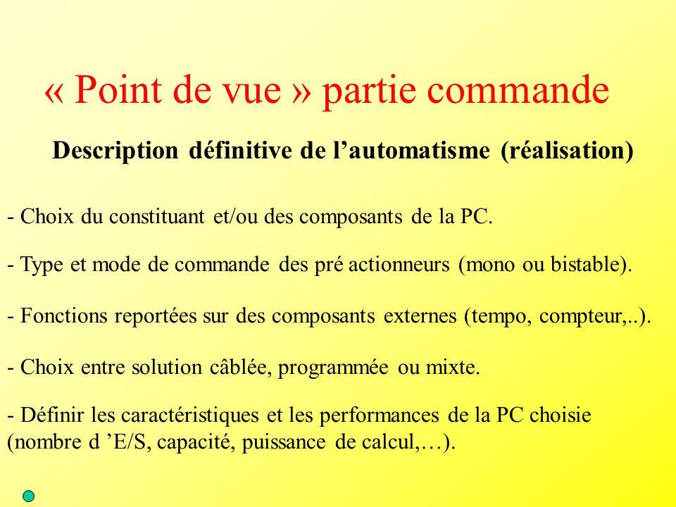 « Point de vue » partie commande Description définitive de l'automatisme (réalisation) - Choix du constituant et/ou des composants de la PC. - Type et