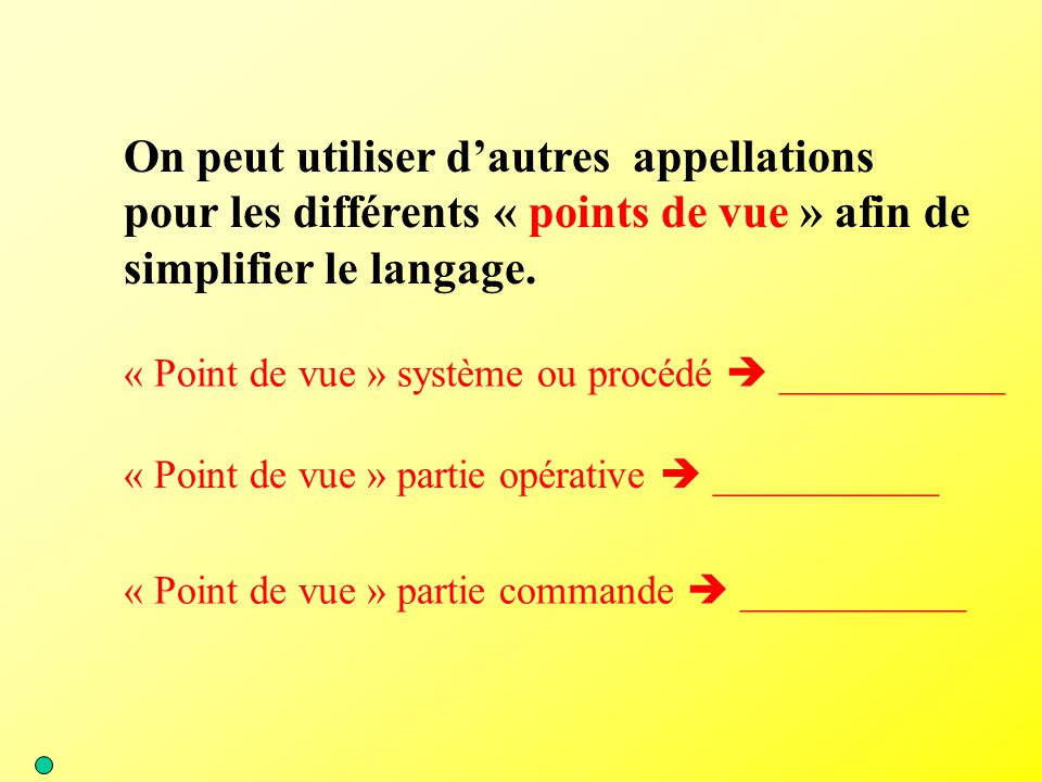 « Point de vue » système ou procédé  ___________ On peut utiliser d'autres appellations pour les différents « points de vue » afin de simplifier le l