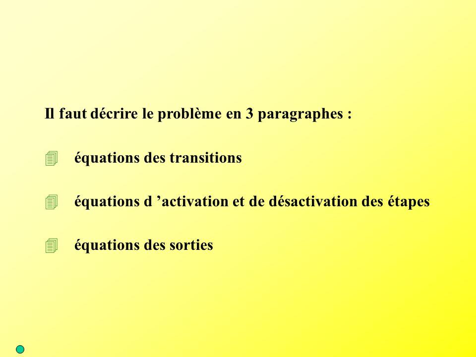 Il faut décrire le problème en 3 paragraphes : 4équations des transitions 4équations d 'activation et de désactivation des étapes 4équations des sorti