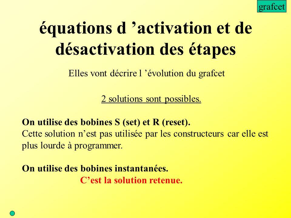équations d 'activation et de désactivation des étapes Elles vont décrire l 'évolution du grafcet 2 solutions sont possibles. On utilise des bobines S