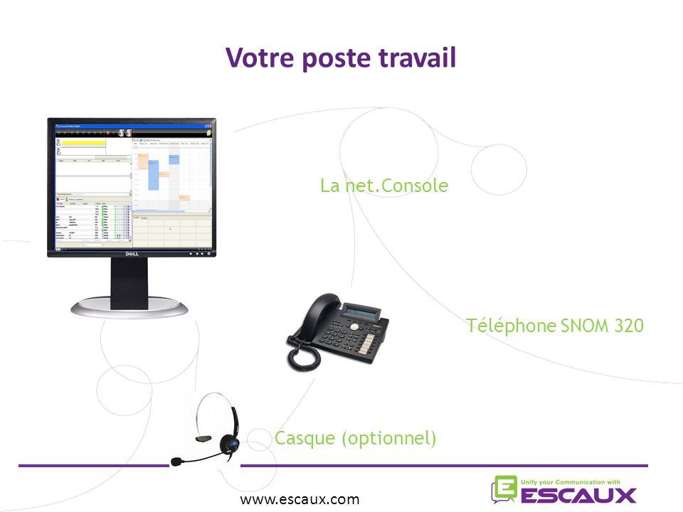 Votre poste travail www.escaux.com La net.Console  Téléphone SNOM 320 Casque (optionnel) 
