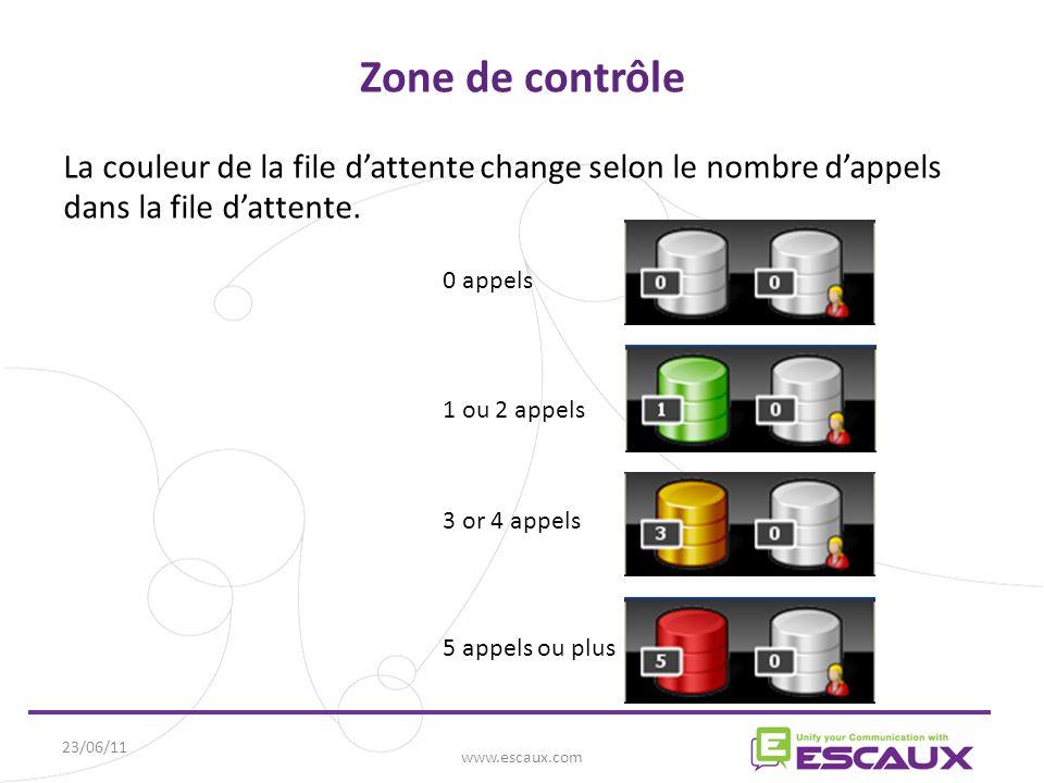 23/06/11 www.escaux.com Zone de contrôle La couleur de la file d'attente change selon le nombre d'appels dans la file d'attente.