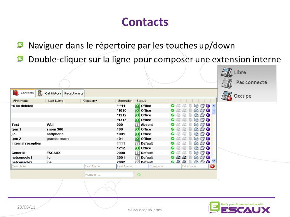 Contacts Naviguer dans le répertoire par les touches up/down Double-cliquer sur la ligne pour composer une extension interne 23/06/11 www.escaux.com Libre Pas connecté Occupé