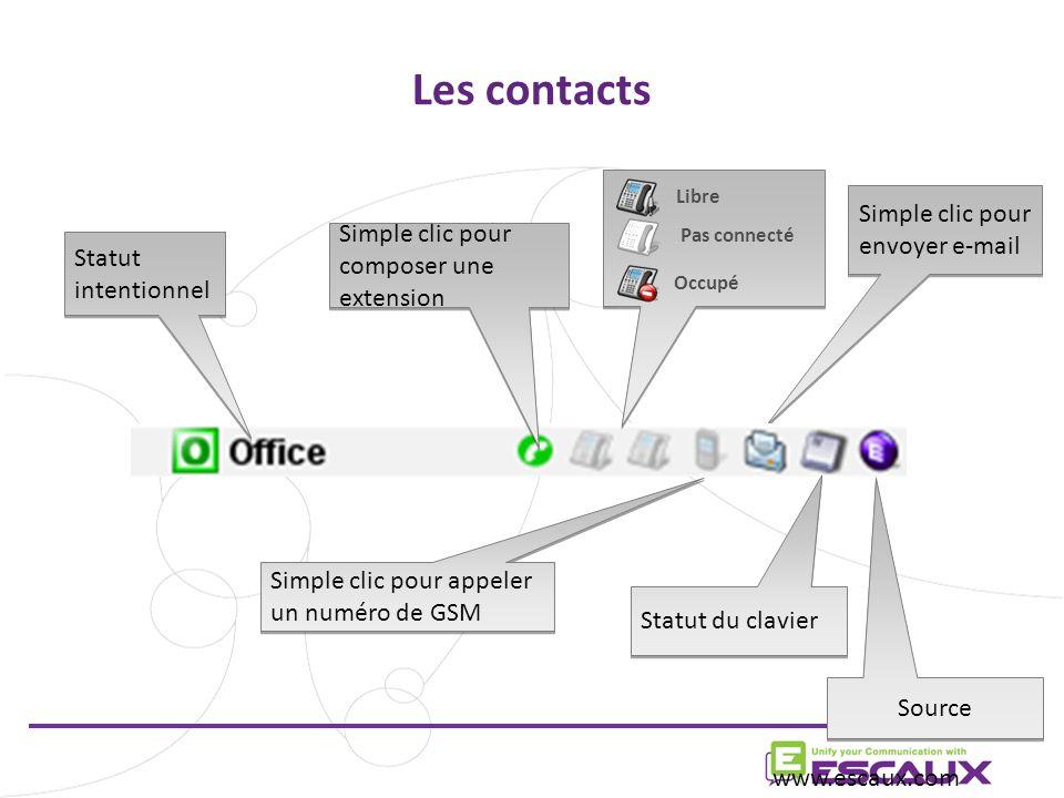 Simple clic pour envoyer e-mail Les contacts www.escaux.com Libre Pas connecté Occupé Source Simple clic pour appeler un numéro de GSM Simple clic pour composer une extension Statut du clavier Statut intentionnel