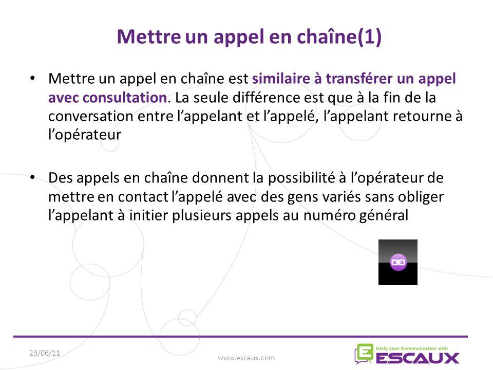 23/06/11 www.escaux.com Mettre un appel en chaîne(1) Mettre un appel en chaîne est similaire à transférer un appel avec consultation.