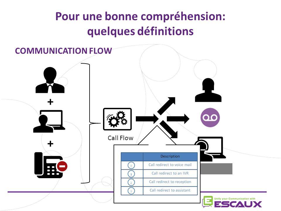 Pour une bonne compréhension: quelques définitions + + Call Flow COMMUNICATION FLOW