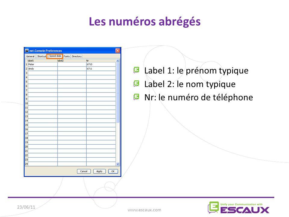 23/06/11 www.escaux.com Les numéros abrégés Label 1: le prénom typique Label 2: le nom typique Nr: le numéro de téléphone