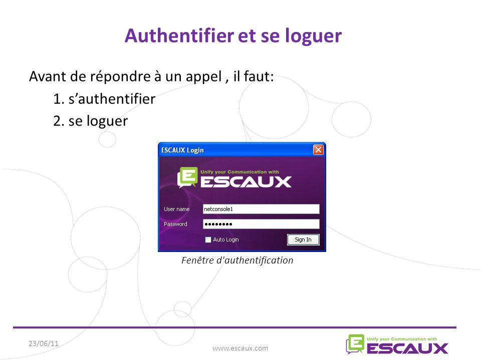23/06/11 www.escaux.com Authentifier et se loguer Avant de répondre à un appel, il faut: 1.