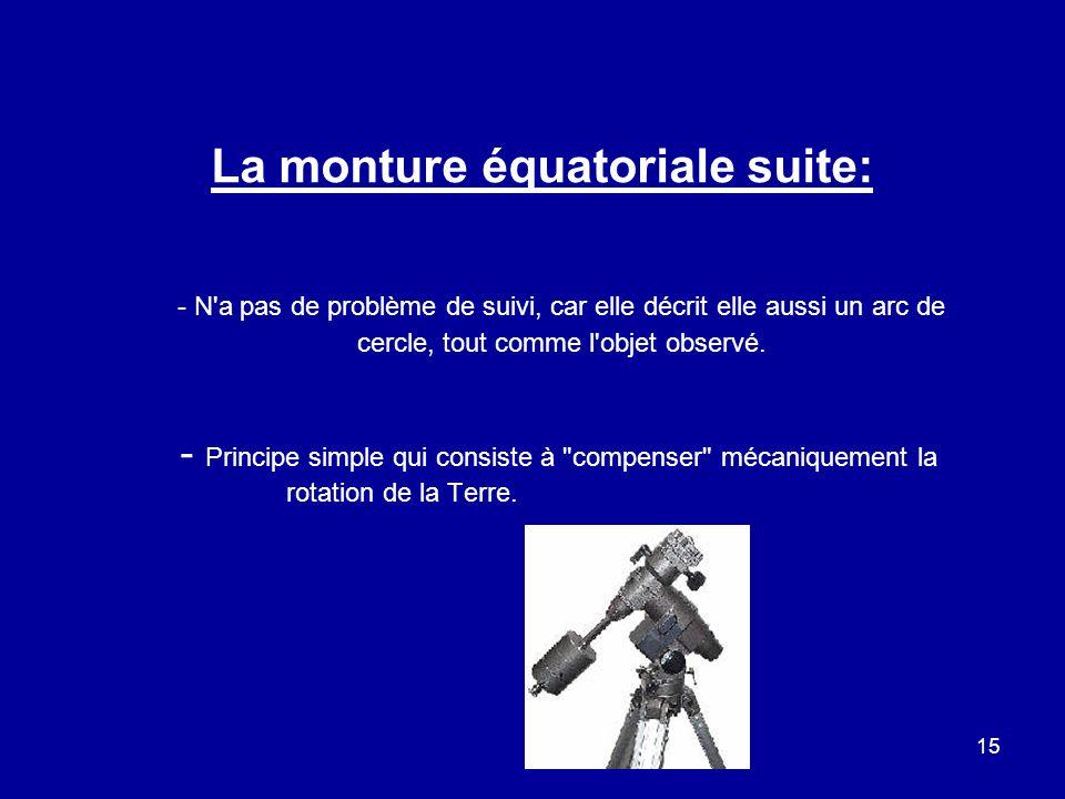 15 La monture équatoriale suite: - N'a pas de problème de suivi, car elle décrit elle aussi un arc de cercle, tout comme l'objet observé. - Principe s