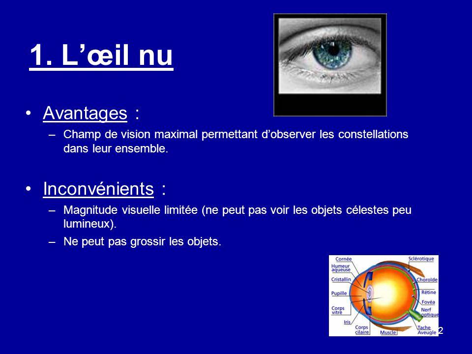 2 1. L'œil nu Avantages : –Champ de vision maximal permettant d'observer les constellations dans leur ensemble. Inconvénients : –Magnitude visuelle li