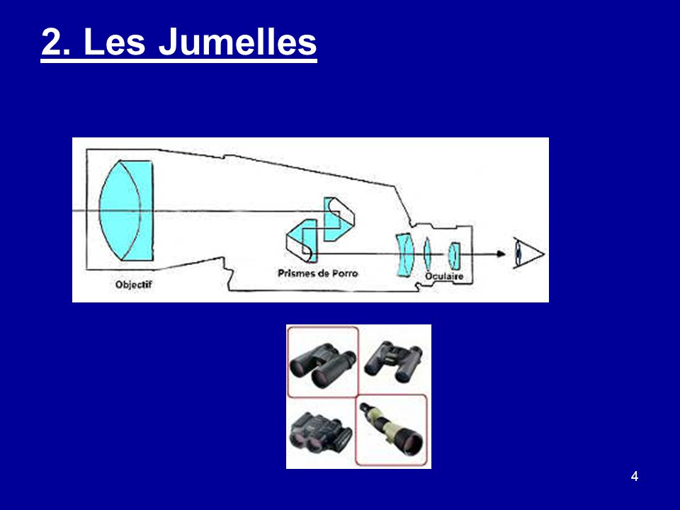 5 Les Jumelles : exemple 7x50 Avantages : –Lumineux.