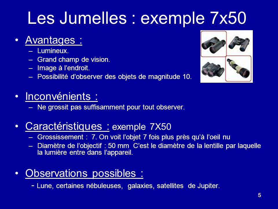 5 Les Jumelles : exemple 7x50 Avantages : –Lumineux. –Grand champ de vision. –Image à l'endroit. –Possibilité d'observer des objets de magnitude 10. I