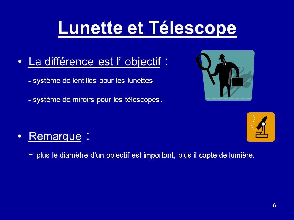 6 Lunette et Télescope La différence est l' objectif : - système de lentilles pour les lunettes - système de miroirs pour les télescopes. Remarque : -