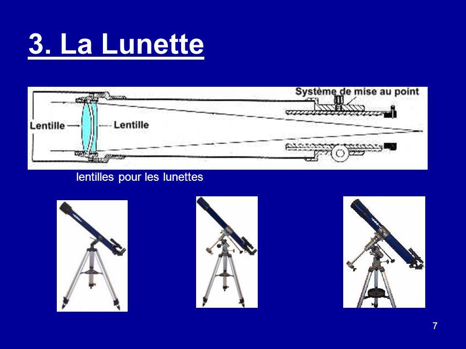 8 La Lunette suite Avantages : - Peu coûteuse en petit diamètre tel que 60 mm, - Peu encombrante et facilement transportable.