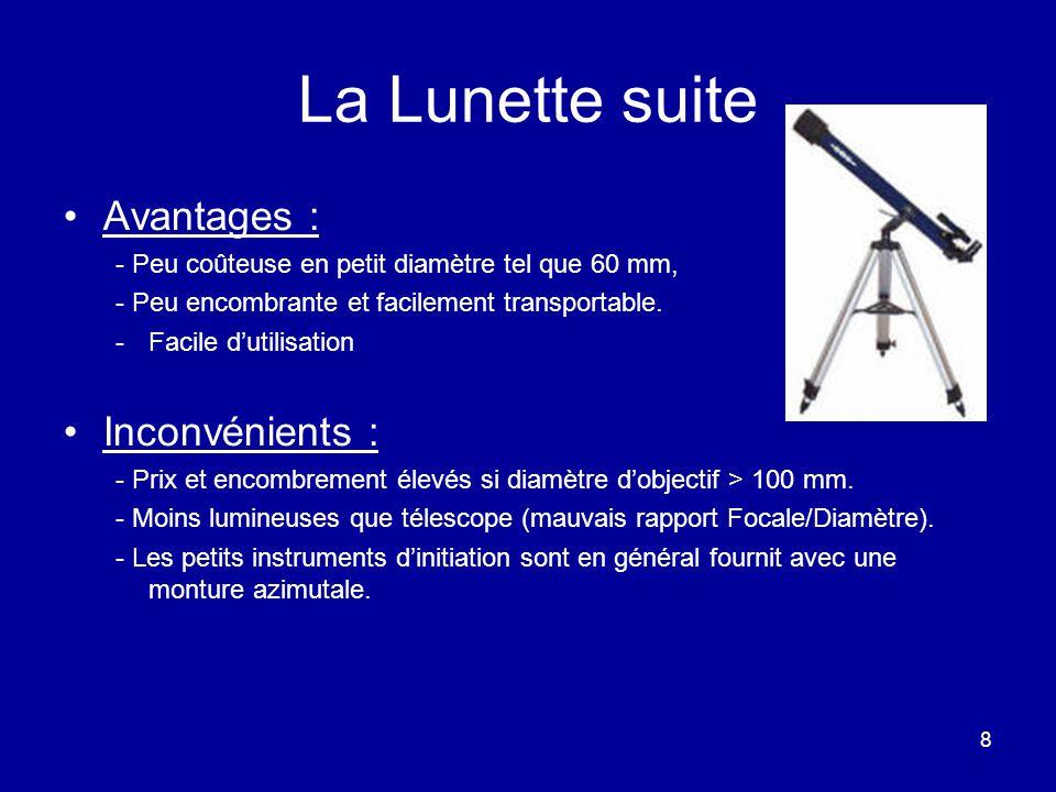 8 La Lunette suite Avantages : - Peu coûteuse en petit diamètre tel que 60 mm, - Peu encombrante et facilement transportable. -Facile d'utilisation In