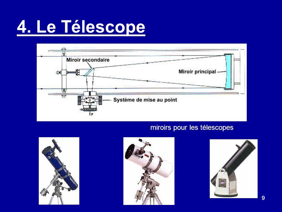 10 Le Télescope suite Avantages : –Plus gros diamètre de miroir à prix égal que la lunette.