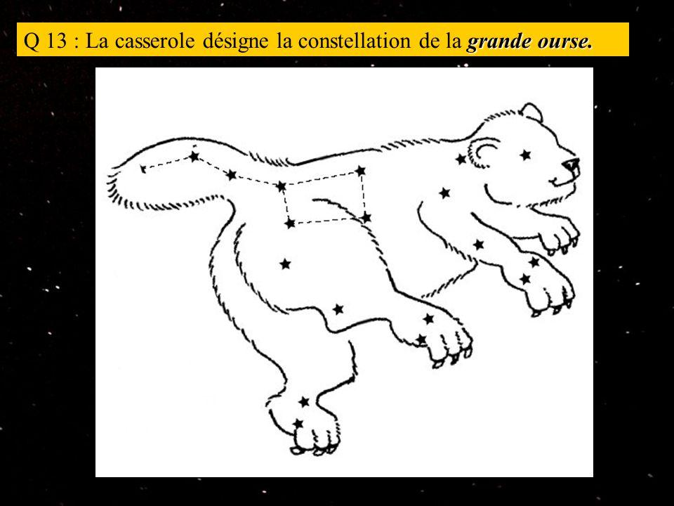grande ourse. Q 13 : La casserole désigne la constellation de la grande ourse.