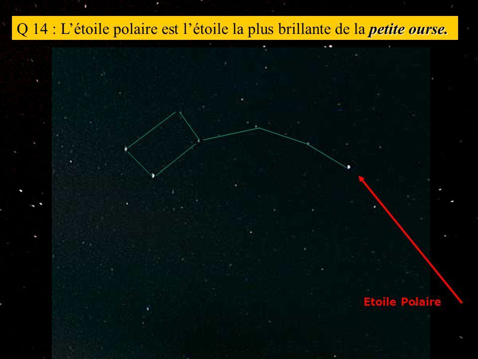 petite ourse. Q 14 : L'étoile polaire est l'étoile la plus brillante de la petite ourse.