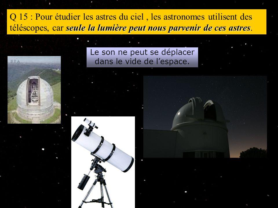 seule la lumière peut nous parvenir de ces astres Q 15 : Pour étudier les astres du ciel, les astronomes utilisent des téléscopes, car seule la lumière peut nous parvenir de ces astres.