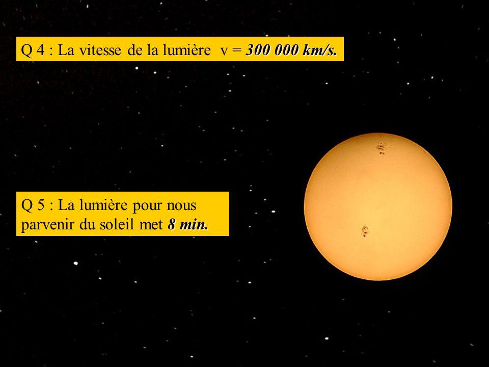300 000 km/s. Q 4 : La vitesse de la lumière v = 300 000 km/s.