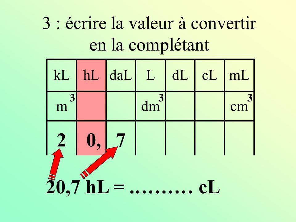 kLdaLhLLcLdLmL mdmcm 333 2 : mettre le chiffre de l'unité dans cette colonne 0, 20,7 hL =.……… cL