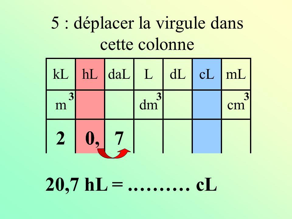 4 : identifier l'unité d'arrivée kLdaLhLLcLdLmL mdmcm 333 0,27 20,7 hL =.……… cL