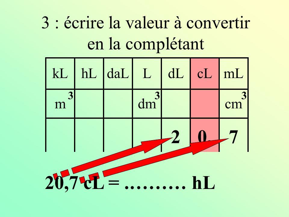 kLdaLhLLcLdLmL mdmcm 333 2 : mettre le chiffre de l'unité dans cette colonne 0, 20,7 cL =.……… hL