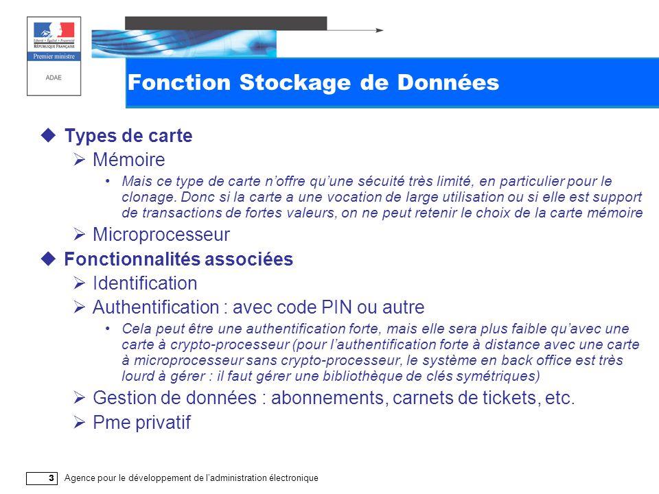 Agence pour le développement de l'administration électronique 3 Fonction Stockage de Données  Types de carte  Mémoire Mais ce type de carte n'offre qu'une sécuité très limité, en particulier pour le clonage.