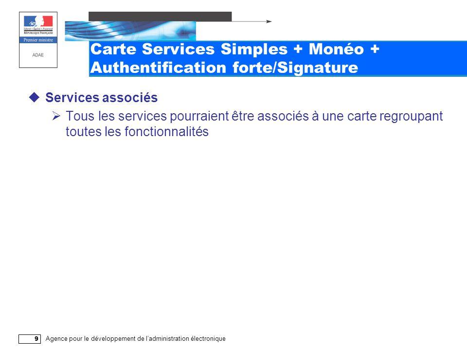 Agence pour le développement de l'administration électronique 9 Carte Services Simples + Monéo + Authentification forte/Signature  Services associés  Tous les services pourraient être associés à une carte regroupant toutes les fonctionnalités