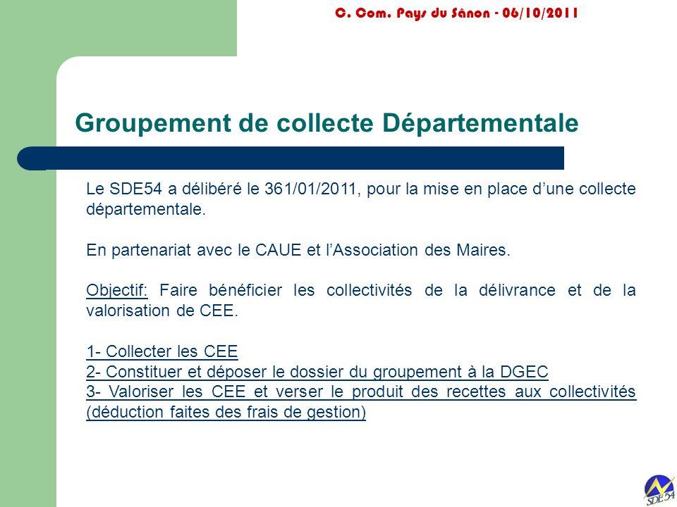 Groupement de collecte Départementale C. Com. Pays du Sânon - 06/10/2011 Le SDE54 a délibéré le 361/01/2011, pour la mise en place d'une collecte dépa