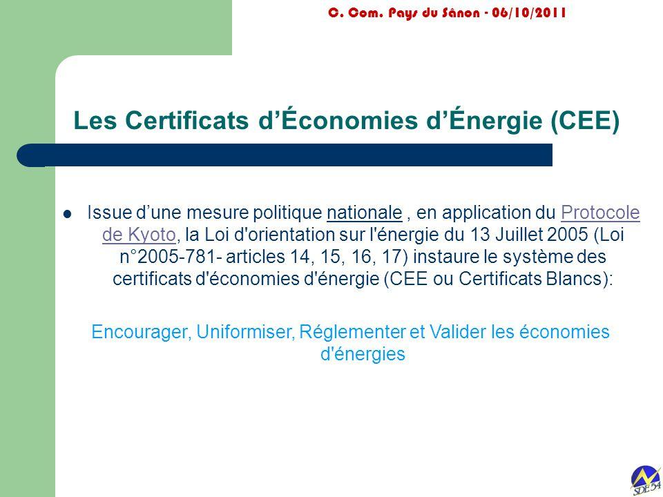 Les Certificats d'Économies d'Énergie (CEE) Issue d'une mesure politique nationale, en application du Protocole de Kyoto, la Loi d'orientation sur l'é