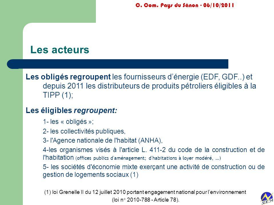 Les acteurs C. Com. Pays du Sânon - 06/10/2011 Les obligés regroupent les fournisseurs d'énergie (EDF, GDF..) et depuis 2011 les distributeurs de prod