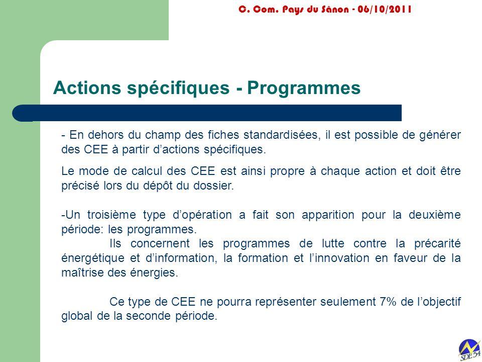 Actions spécifiques - Programmes C. Com. Pays du Sânon - 06/10/2011 - En dehors du champ des fiches standardisées, il est possible de générer des CEE