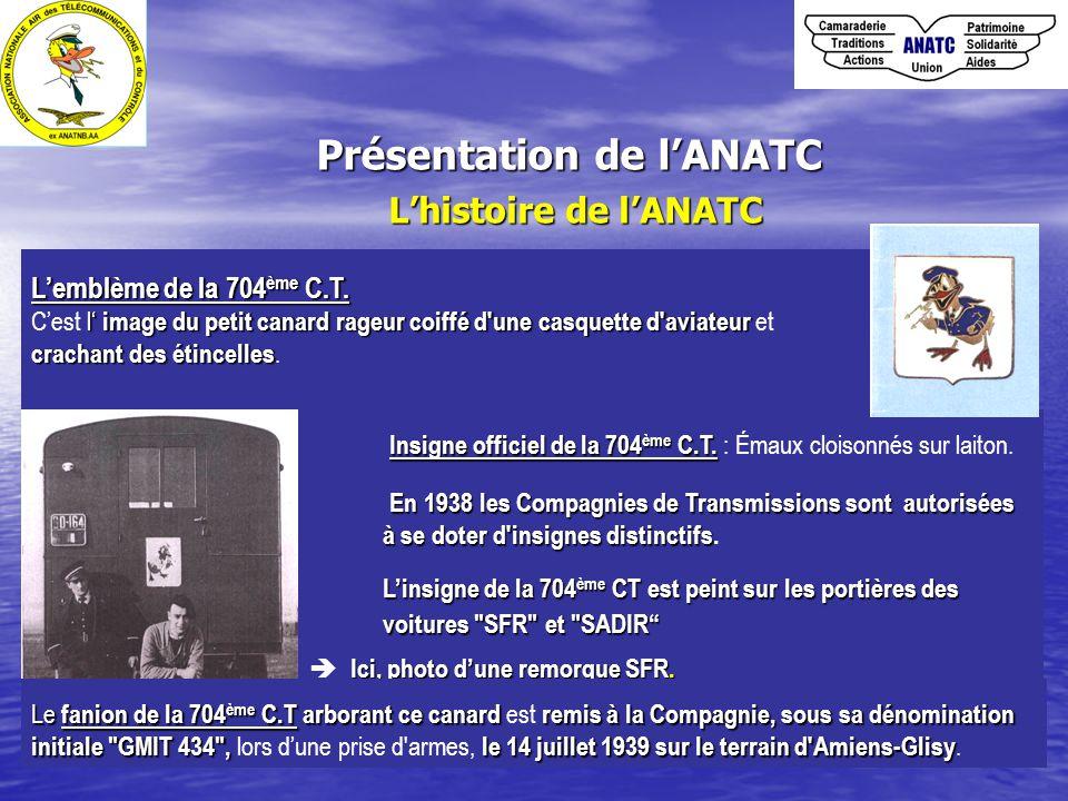 Présentation de l'ANATC L'histoire de l'ANATC Insigne officiel de la 704 ème C.T. Insigne officiel de la 704 ème C.T. : Émaux cloisonnés sur laiton. E