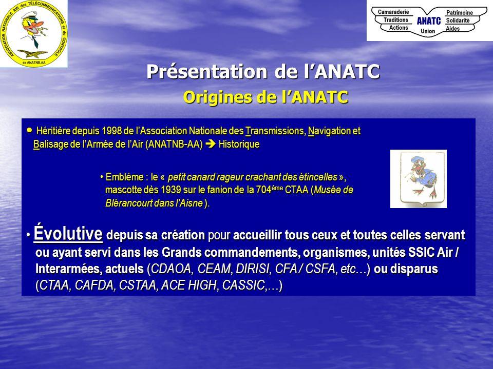 Présentation de l'ANATC Origines de l'ANATC Héritière depuis 1998 de l'Association Nationale des Transmissions, Navigation et Héritière depuis 1998 de l'Association Nationale des Transmissions, Navigation et Balisage de l'Armée de l'Air (ANATNB-AA)  Historique Balisage de l'Armée de l'Air (ANATNB-AA)  Historique Emblème : le « petit canard rageur crachant des étincelles », Emblème : le « petit canard rageur crachant des étincelles », mascotte dès 1939 sur le fanion de la 704 ème CTAA ( Musée de mascotte dès 1939 sur le fanion de la 704 ème CTAA ( Musée de Blérancourt dans l'Aisne ).