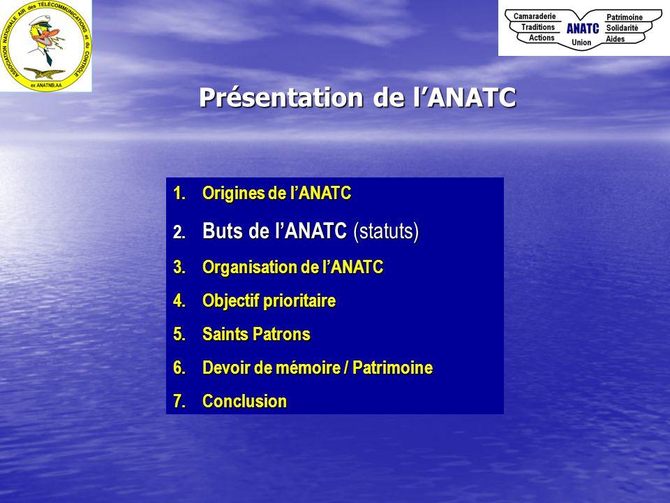1. Origines de l'ANATC 2. Buts de l'ANATC (statuts) 3. Organisation de l'ANATC 4. Objectif prioritaire 5. Saints Patrons 6. Devoir de mémoire / Patrim